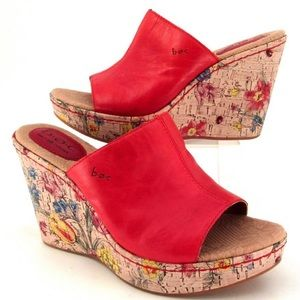 Born Concept Red Leather Floral Platform Wedge 8